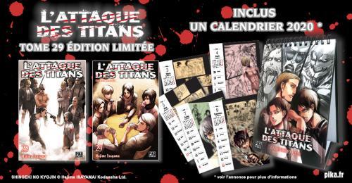 Bannière L'Attaque des Titans Tome 29 Édition limitée